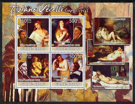 Guinea - Bissau 2008 Nude paintings by Tiziano Vecelli perf sheetlet containing 4 values unmounted mint