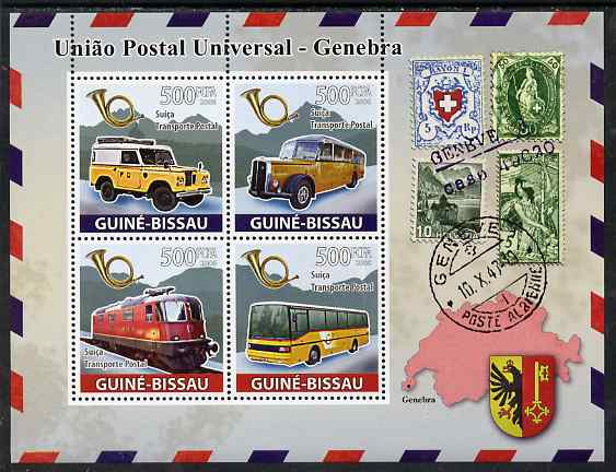 Guinea - Bissau 2008 UPU - Transport perf sheetlet containing 4 values unmounted mint
