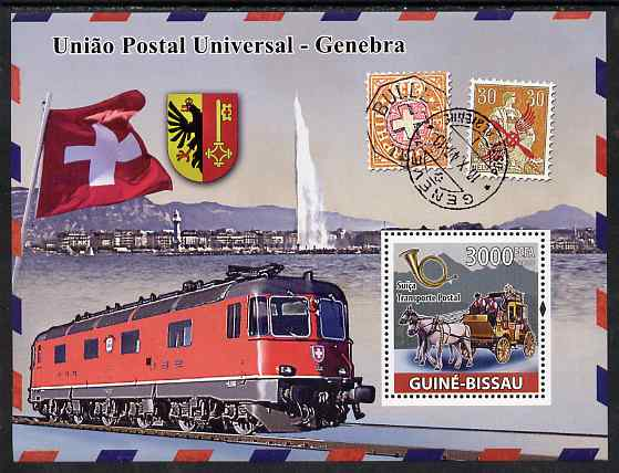 Guinea - Bissau 2008 UPU - Transport perf souvenir sheet unmounted mint