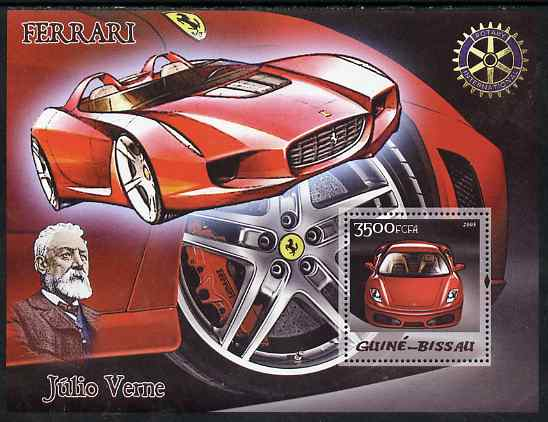 Guinea - Bissau 2005 Ferrari Cars & Jules Verne with Rotary Logo perf s/sheet unmounted mint Mi BL 515