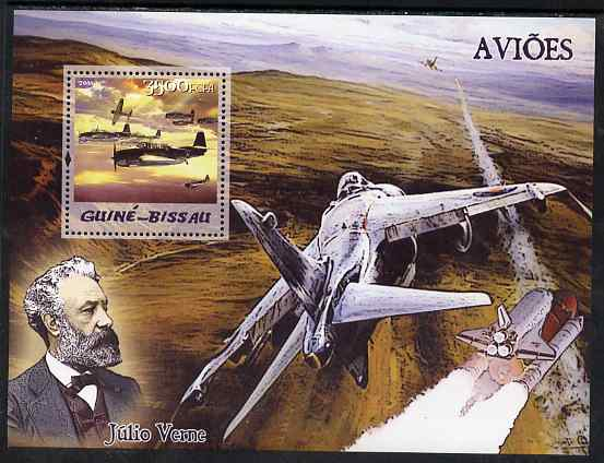 Guinea - Bissau 2005 Aircraft & Jules Verne perf s/sheet unmounted mint Mi BL 516