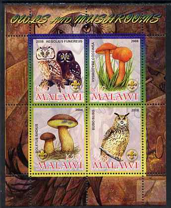 Malawi 2008 Owls & Mushrooms #1 perf sheetlet containing 4 values, each with Scout logo unmounted mint