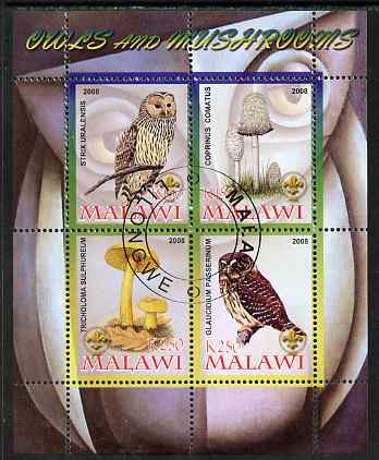 Malawi 2008 Owls & Mushrooms #2 perf sheetlet containing 4 values, each with Scout logo fine cto used