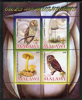 Malawi 2008 Owls & Mushrooms #2 perf sheetlet containing 4 values, each with Scout logo unmounted mint