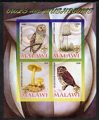 Malawi 2008 Owls & Mushrooms #2 imperf sheetlet containing 4 values, each with Scout logo unmounted mint