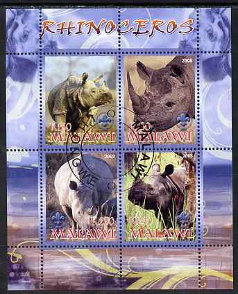 Malawi 2008 Rhinos perf sheetlet containing 4 values, each with Scout logo fine cto used