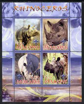 Malawi 2008 Rhinos perf sheetlet containing 4 values, each with Scout logo unmounted mint
