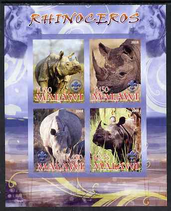 Malawi 2008 Rhinos imperf sheetlet containing 4 values, each with Scout logo unmounted mint