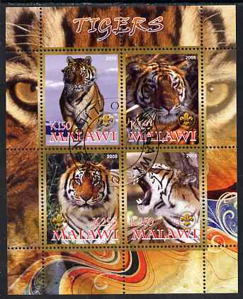 Malawi 2008 Tigers perf sheetlet containing 4 values, each with Scout logo fine cto used
