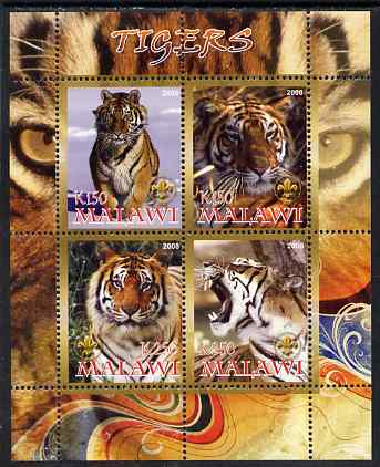 Malawi 2008 Tigers perf sheetlet containing 4 values, each with Scout logo unmounted mint