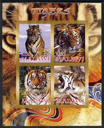 Malawi 2008 Tigers imperf sheetlet containing 4 values, each with Scout logo unmounted mint