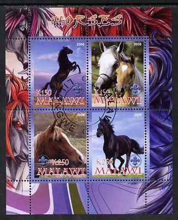 Malawi 2008 Horses perf sheetlet containing 4 values, each with Scout logo fine cto used