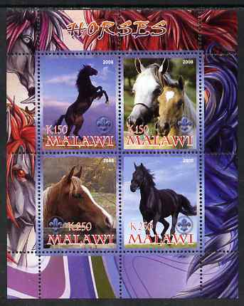 Malawi 2008 Horses perf sheetlet containing 4 values, each with Scout logo unmounted mint