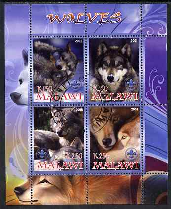 Malawi 2008 Wolves perf sheetlet containing 4 values, each with Scout logo fine cto used