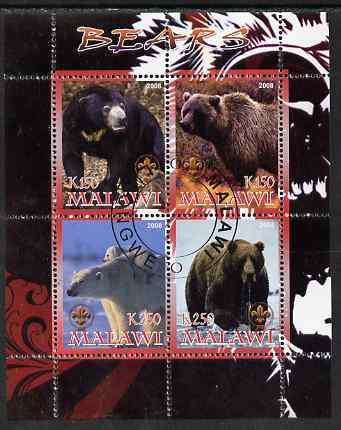Malawi 2008 Bears perf sheetlet containing 4 values, each with Scout logo fine cto used