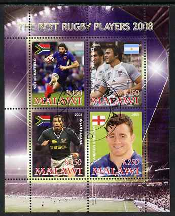 Malawi 2008 The Best Rugby Players perf sheetlet containing 4 values, fine cto used, stamps on sport, stamps on rugby, stamps on personalities