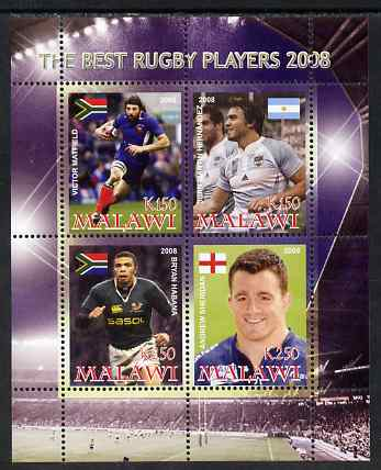 Malawi 2008 The Best Rugby Players perf sheetlet containing 4 values, unmounted mint