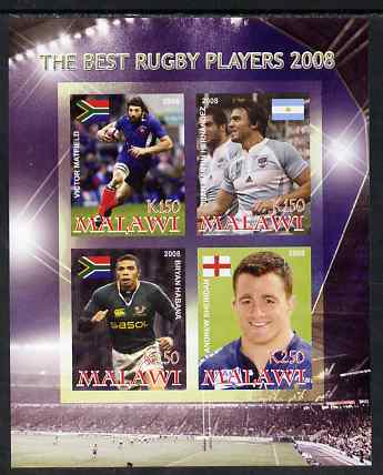 Malawi 2008 The Best Rugby Players imperf sheetlet containing 4 values, unmounted mint