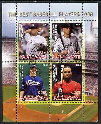 Malawi 2008 The Best Baseball Players perf sheetlet containing 4 values, fine cto used, stamps on sport, stamps on baseball, stamps on personalities