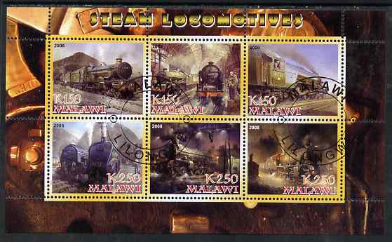 Malawi 2008 Steam Locomotives perf sheetlet containing 6 values fine cto used
