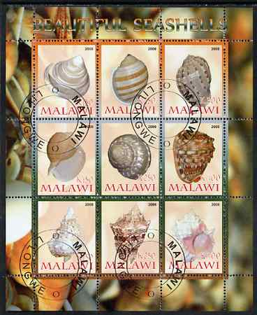 Malawi 2008 Sea Shells perf sheetlet containing 9 values fine cto used
