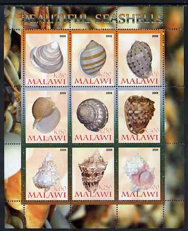 Malawi 2008 Sea Shells perf sheetlet containing 9 values unmounted mint