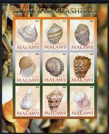 Malawi 2008 Sea Shells imperf sheetlet containing 9 values unmounted mint