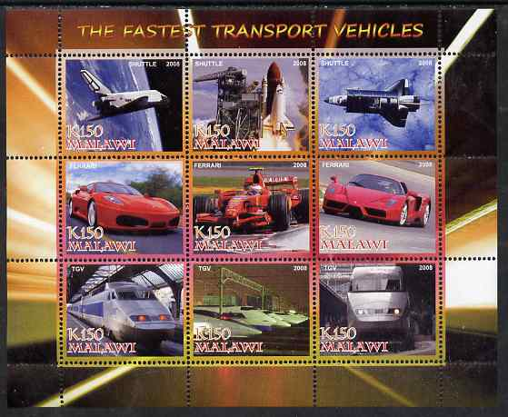 Malawi 2008 Fastest Transport Vehicles (Shuttle, Ferrari & TGV) perf sheetlet containing 9 values unmounted mint