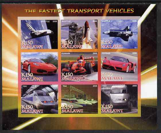 Malawi 2008 Fastest Transport Vehicles (Shuttle, Ferrari & TGV) imperf sheetlet containing 9 values unmounted mint