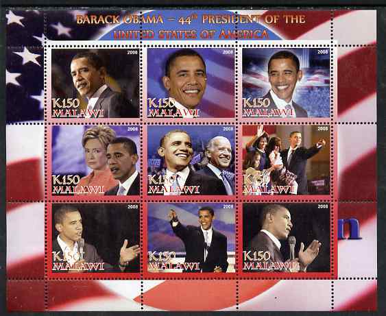 Malawi 2008 Barack Obama - 44th President of the USA perf sheetlet containing 9 values unmounted mint