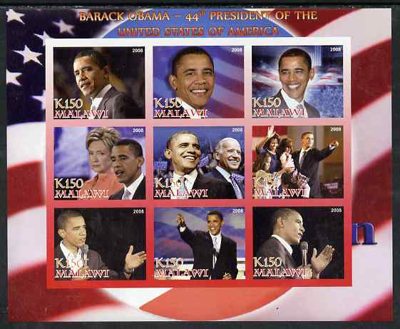 Malawi 2008 Barack Obama - 44th President of the USA imperf sheetlet containing 9 values unmounted mint