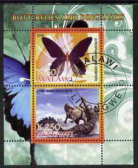 Malawi 2008 Butterflies & Dinosaurs #4 perf sheetlet containing 2 values fine cto used