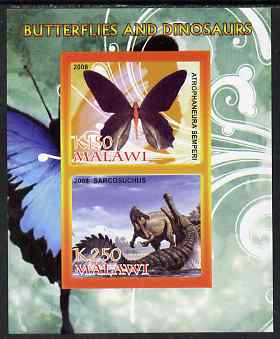 Malawi 2008 Butterflies & Dinosaurs #4 imperf sheetlet containing 2 values unmounted mint