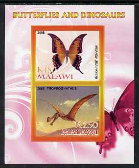 Malawi 2008 Butterflies & Dinosaurs #5 imperf sheetlet containing 2 values unmounted mint
