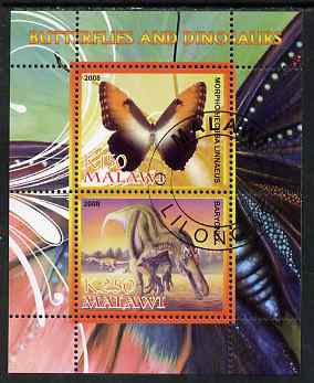 Malawi 2008 Butterflies & Dinosaurs #6 perf sheetlet containing 2 values fine cto used