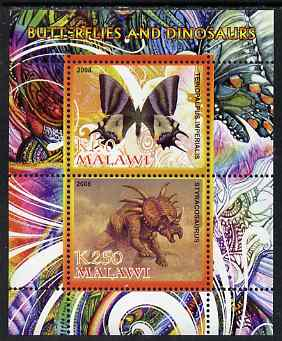 Malawi 2008 Butterflies & Dinosaurs #7 perf sheetlet containing 2 values unmounted mint