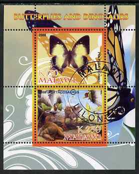 Malawi 2008 Butterflies & Dinosaurs #8 perf sheetlet containing 2 values fine cto used