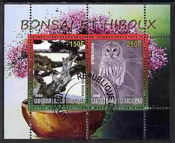Djibouti 2008 Bonsai & Owls #1 perf sheetlet containing 2 values fine cto used