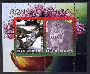 Djibouti 2008 Bonsai & Owls #1 perf sheetlet containing 2 values unmounted mint