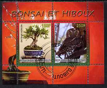 Djibouti 2008 Bonsai & Owls #2 perf sheetlet containing 2 values fine cto used
