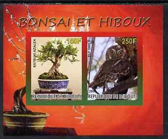 Djibouti 2008 Bonsai & Owls #2 imperf sheetlet containing 2 values unmounted mint