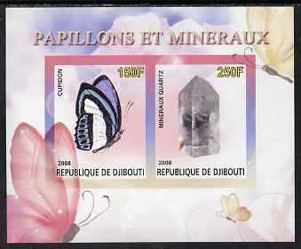 Djibouti 2008 Butterflies & minerals #1 imperf sheetlet containing 2 values unmounted mint