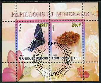 Djibouti 2008 Butterflies & minerals #2 perf sheetlet containing 2 values fine cto used