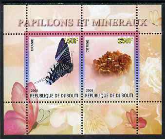 Djibouti 2008 Butterflies & minerals #2 perf sheetlet containing 2 values unmounted mint