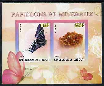 Djibouti 2008 Butterflies & minerals #2 imperf sheetlet containing 2 values unmounted mint