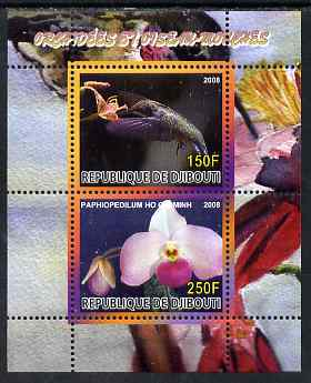 Djibouti 2008 Hummingbirds & Orchids #1 perf sheetlet containing 2 values unmounted mint