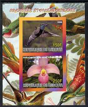 Djibouti 2008 Hummingbirds & Orchids #3 imperf sheetlet containing 2 values unmounted mint