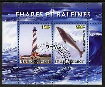 Djibouti 2008 Lighthouses & Whales #2 perf sheetlet containing 2 values fine cto used