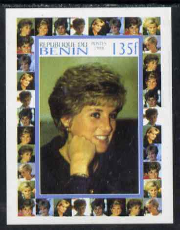 Benin 1998 Princess Diana Memoriam #1 - 135f individual imperf deluxe sheet unmounted mint. Note this item is privately produced and is offered purely on its thematic appeal