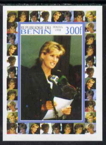 Benin 1998 Princess Diana Memoriam #5 - 300f individual imperf deluxe sheet unmounted mint. Note this item is privately produced and is offered purely on its thematic appeal